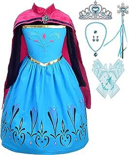 أزياء الأميرة سنو كوين شقيقة الثلج للبنات من ليتو أنجلز زي حفلات تنكرية لأعياد الميلاد مع إكسسوارات