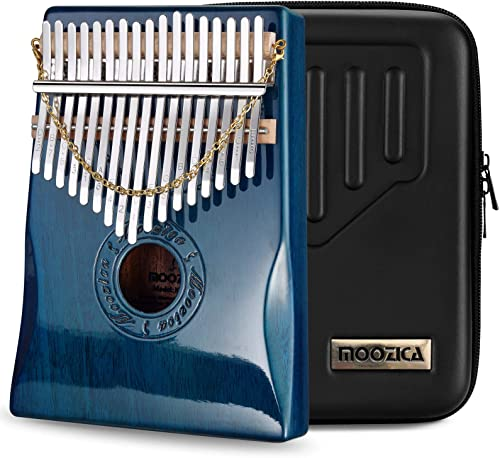 Moozica 17 teclas Kalimba piano de pulgar, Madera de caoba sólida profesional Marimba Mbira con acabado de laca de pi...