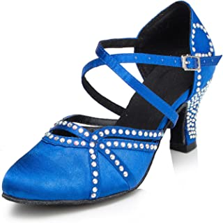 Women's Sequins Heels Pumps Modern Latin Tango Shoes Cross Ankle Strap Buckle Dance Shoes LD034