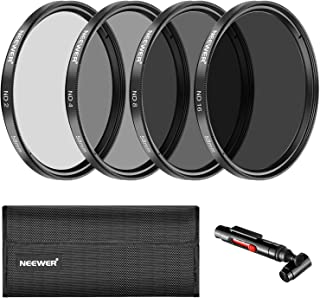 Neewer 58MM Filtro Densidad Neutra ND2 ND4 ND8 ND16 y Kit Accesorio para Canon EOS Rebel T6i T5i T4i SL1750D 760D 650D 600D 550D 500D 450D 7D 60D DSLRPluma LenteBolsa Filtro