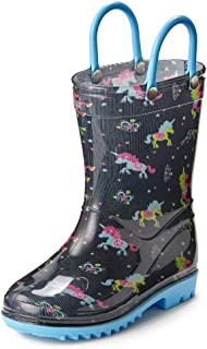 Puddle Play Toddler and Kids Waterproof Rain Boots with Easy-On Handles - Boys and Girls Fun Colors and Designs