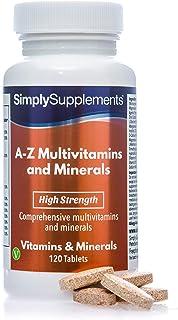 A-Z Multivitaminas y minerales - Con vitamina C y 30 nutrientes esenciales - Apto para vegetarianos - ¡Bote para 4 meses! -120 comprimidos - SimplySupplements