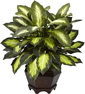 Nearly Natural 6720 22in. Triple Golden Dieffenbachia with Wood Vase