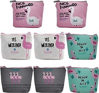 Monedero de Lona de Flamingo - ZSWQ Monedero Pequeño de Dibujos Animados Lindo con Cremallera, Mini Lienzo Monedero para M...
