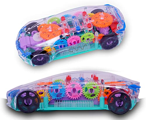 Cable World Plastic 3D with 360 Degree Rotation Gear Simulation Mechanical Sound and Light Car Toy for Boys and Girls Multicolor Multi Design