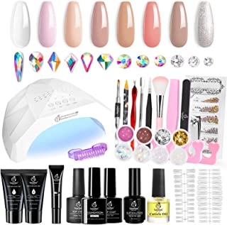 Beetles 6 Colors Nude Pink Extension Gel Nail Polish and 2 Colors Clear Baby Pink Poly Kit with 48W LED Nail Lamp Sliver G...