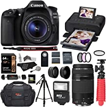 Canon 80D DSLR Camera EF-S 18-55mm is STM Kit with EF 75-300mm III Telephoto Lens and Canon Selphy Printer CP1300 Printer (Black), Lexar 64GB U3 Memory Card Bundle