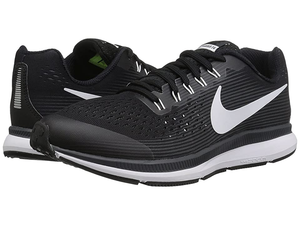 Nike Kids Zoom Pegasus 34 (Little Kid/Big Kid) (Black/White/Dark Grey/Anthracite) Boys Shoes