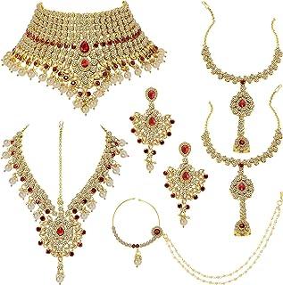 Aheli Classic Bollywood Style Indian Bridal Choker Necklace Matha Patti Nose Ring Haath Phool Wedding Fashion Jewelry Set ...