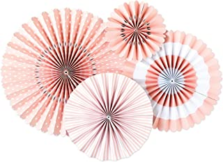 My Mind's Eye - Fancy Ballet Pink Paper Party Fans - 4 Count - Decorations