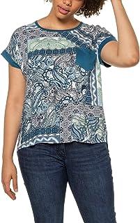 Ulla Popken Große Größen Shirt Mit Brusttasche Und Gepatchten Prints, Oversized Camiseta para Mujer