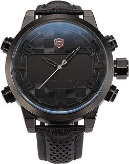 HELMASK watch - Genuine Leather Black Round man mens men boy Analog & Digital analog Date Day 24hour 2 time zone dual time zone Wrist Watch