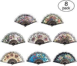 8 PCS Spanish Floral Folding Hand Fan Vintage Retro Pattern Fabric Fans ( 8 different patterns )