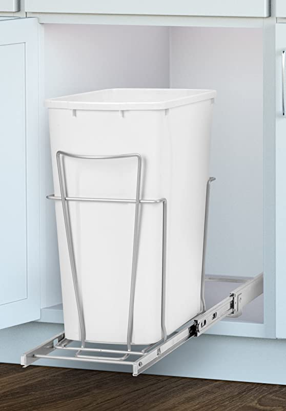 Panacea Grayline Slide Out Single Trash Can Basket Storage Satin Nickel