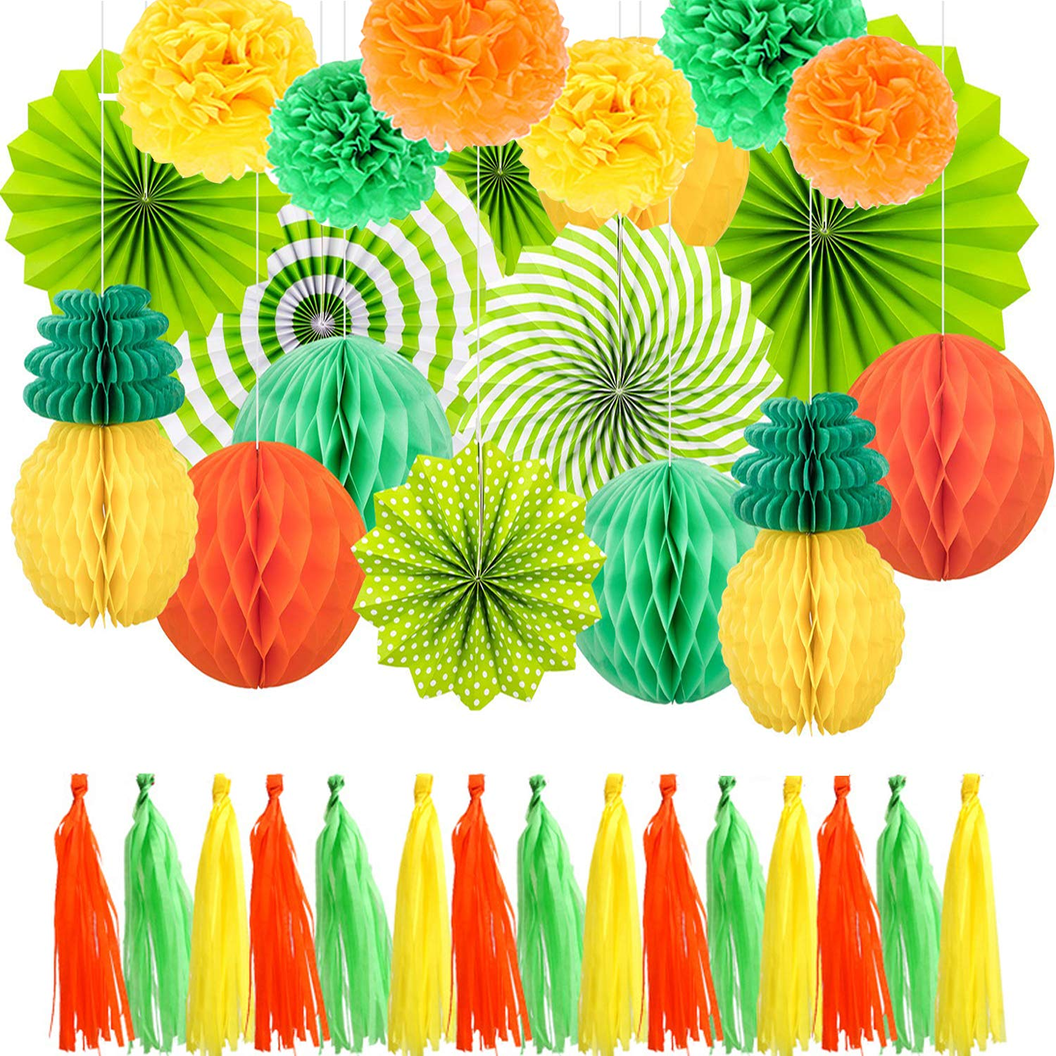34 PCS Hawaiian Tropical Luau Theme Party Decorations Set, Summer Party Decoration Include Paper Pineapples, Paper Flower Ball, Paper Fans, Honeycomb Balls, Tassel for Aloha Decor