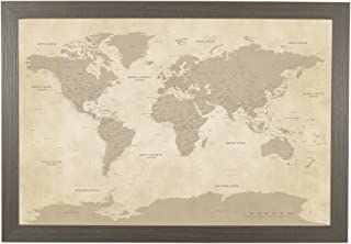 Push Pin Travel Maps Vintage World with Barnwood Gray Frame and Pins - 27.5 inches x 39.5 inches