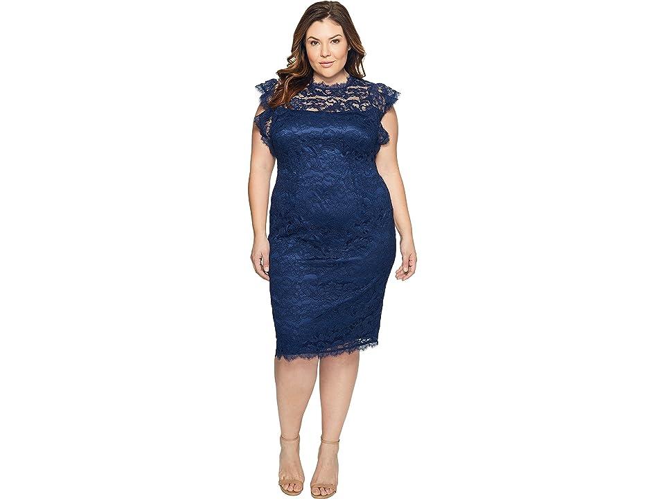 Adrianna Papell Plus Size Mock Neck, Ruffled Sleeve Lace Sheath Dress (Night Navy) Women