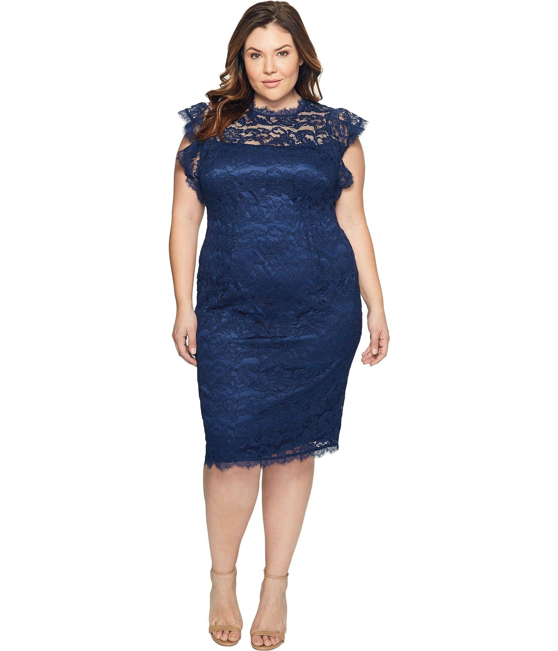 Plus size lace sheath cocktail dress