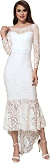 ohyeah Women Solid Formal Lace Maxi Dress Long Sleeve Off Shoulder Elegant Party Gown Mermaid Dress