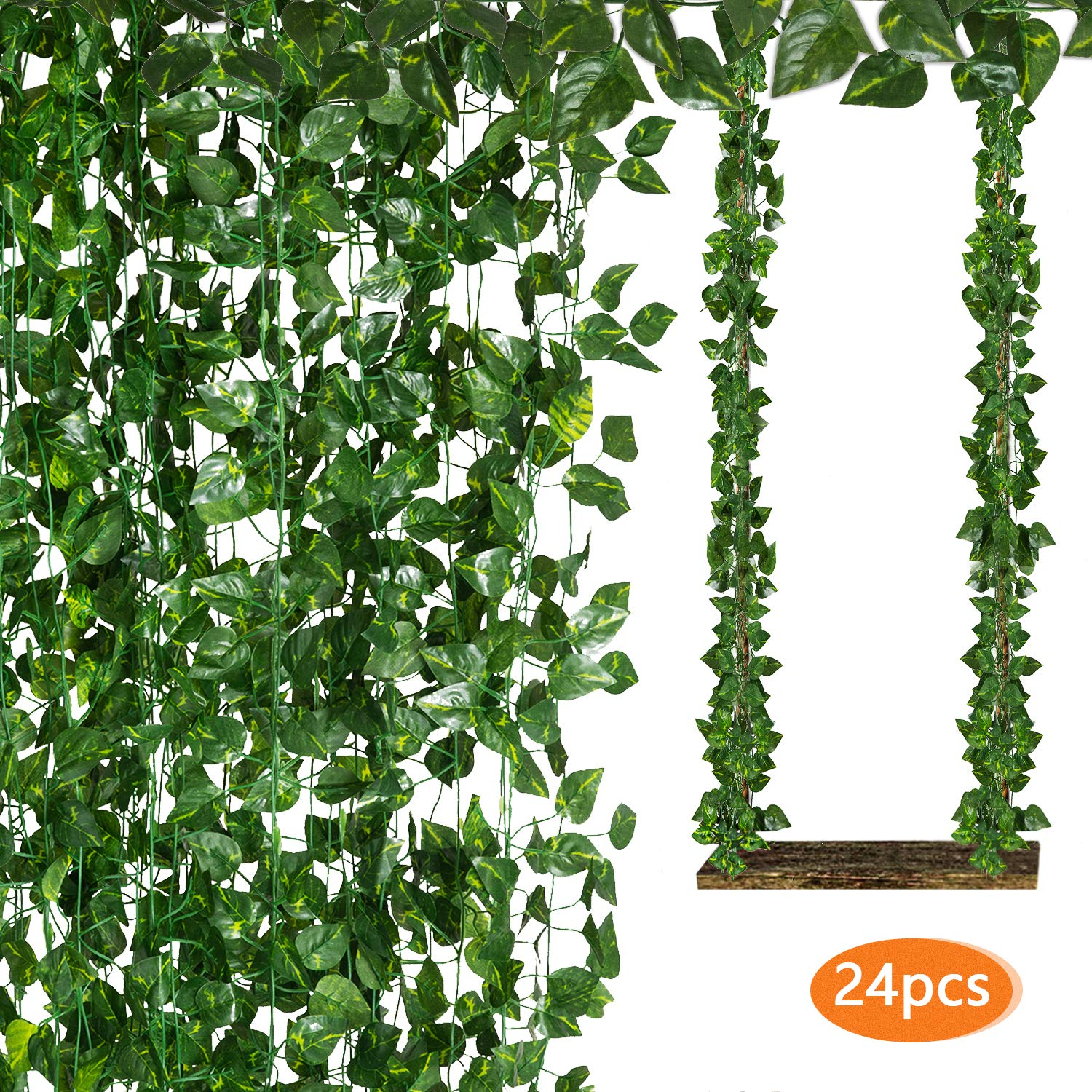 Funny Poop 24 Pack 168 FT Artificial Ivy Leaf Fake Ivy Hanging Greenery Garland Vines for Wedding Decor Party Room Kitchen Balcony Garden Wall Decoration