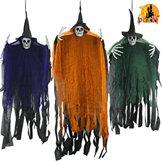 """Hanging Halloween Decorations, 51"""" & 41"""" 3 Packs Hanging Grim Reaper, 4.3ft Scary Ghost Skeleton Décor and 2 Packs 3.5ft T..."""