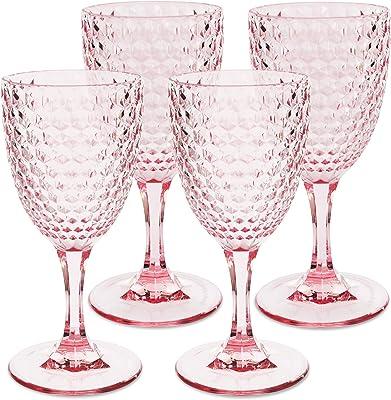 Laguna Beach Wine Glass Pink, 12oz, set of 4, Shatterproof Tritan Drinking Glasses - Unbreakable Glassware for Indoor and Outdoor Use - Reusable Drinkware