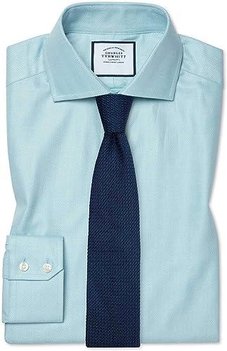 Chemise à Col Cutaway En Coton Stretch Avec Tencel Teal Extra Slim Fit   Vert (Poignet Simple)   15   32