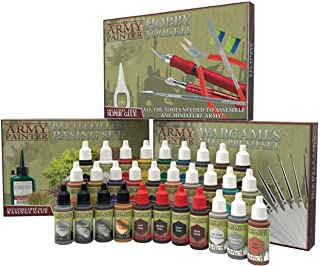 The Army Painter Ultimate Hobby Collection Miniature Painting Kit: 30 Model Paints with 11 Wargamer Brushes, Model Kit Tools, Basing Set, 18 ml/Bottle, Detailing Brush Set, Non-Toxic Acrylic Paint Set
