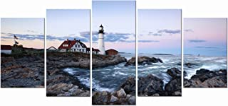 Wieco Art Portland Lighthouse 5 Panels Modern Canvas Prints Artwork Seascape Pictures to..