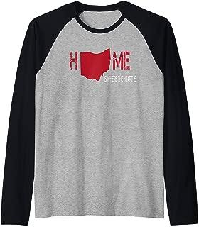 I Love Ohio Home My Heart State Silhouette Graphic Fan Gift Raglan Baseball Tee