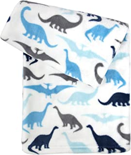 Tadpoles Ultra-Soft Microfleece Plush Dinosaur Baby Blanket, 30x40, Blue/Grey