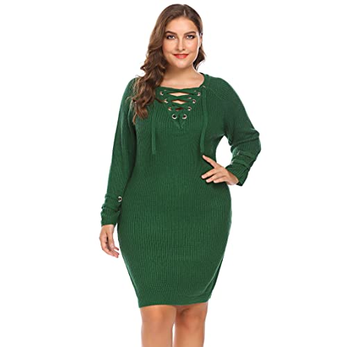 6582175908 Zeagoo Womens Plus Size Lace Up V-Neck Sweater Dress Long Sleeve Knit  Pullover Dress