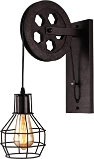BAYCHEER 1 Light Wall Sconce Keyed Socket Pulley LED Industrial Wall Sconces Retro Wall Lights Fixture for Indoor Lighting Barn Restaurant in Rust Finished