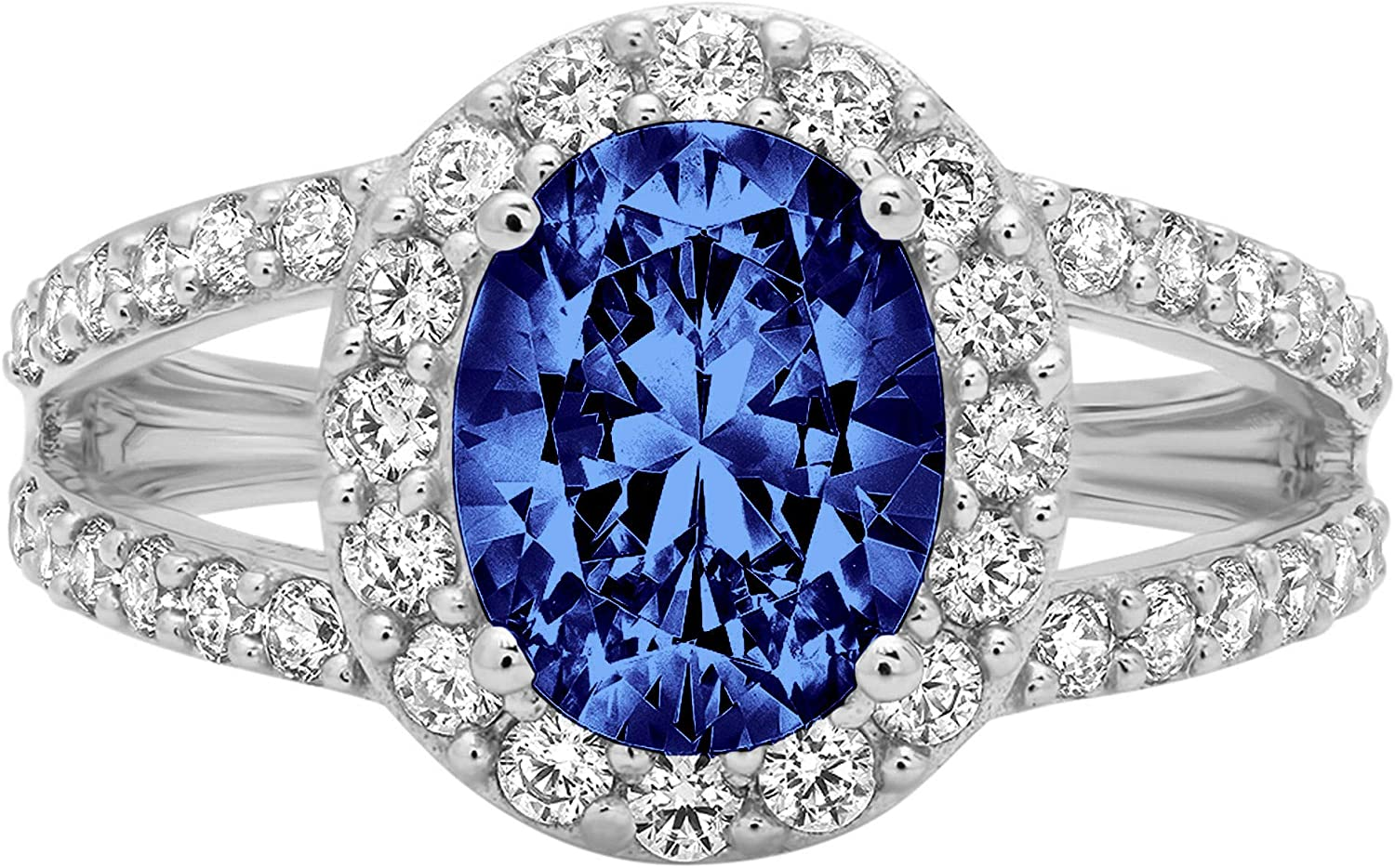 2.29 ct Oval Cut Solitaire with Accent Halo split shank Stunning Genuine Flawless Simulated Blue Tanzanite Modern Promise Statement Designer Ring 14k White Gold