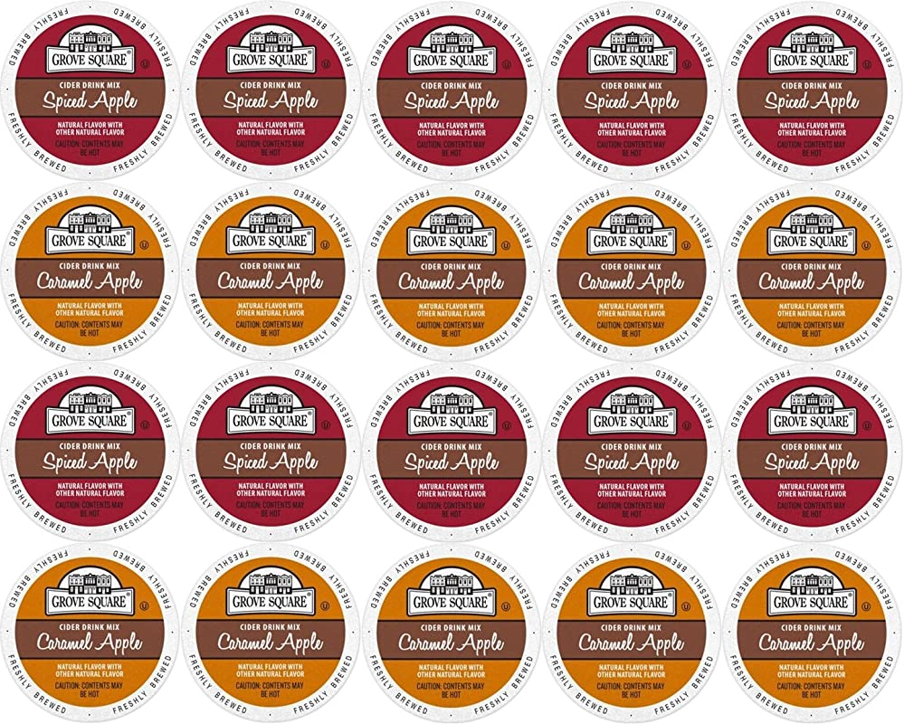 20 Count Single Serve Cups For Keurig K Cup Brewers Grove Square Apple Cider Variety Pack Featuring Spiced Apple Cider And Caramel Apple Cider Cups