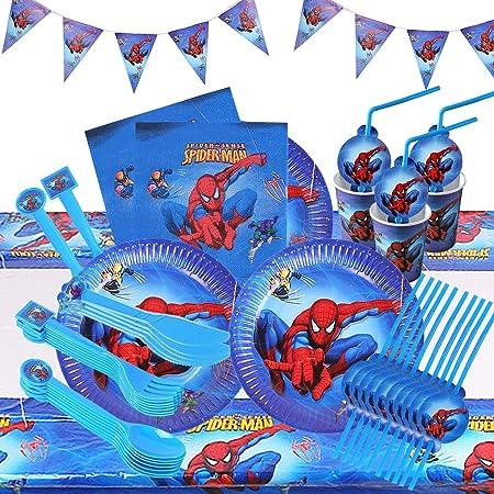 HASAKA Lot de 82 accessoires de table pour fête d'anniversaire Motif super-héros Assiettes, gobelets, pailles, cuillères, fourchettes, couteaux, bannière, nappe, Spiderman