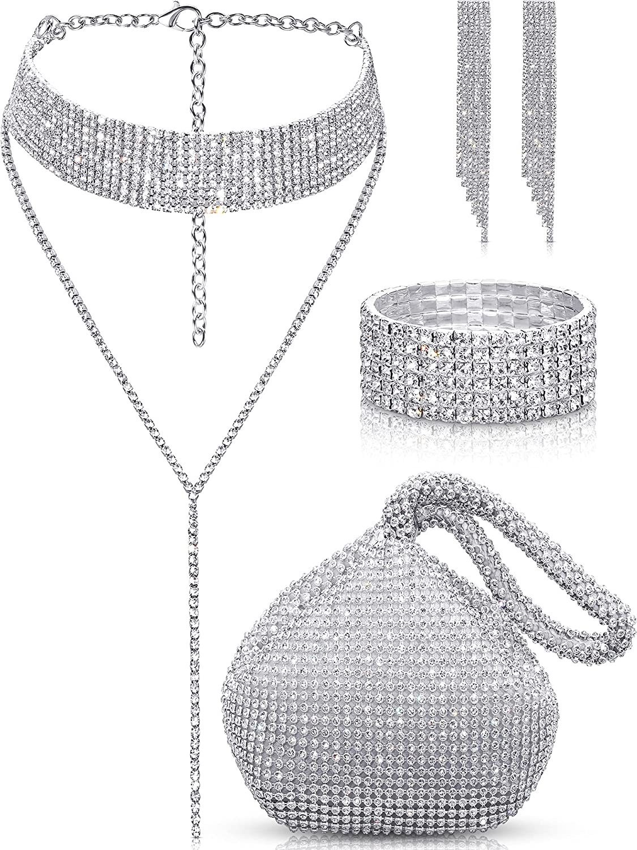 Quelay 4 Pieces Women Crystal Jewelry Set Rhinestone Tassel Choker Necklace Stretch Bangle Bracelet Crystal Dangle Fringe Earrings and Rhinestone Handbag for Wedding Party