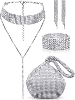 Quelay 4 Pieces Women Crystal Jewelry Set Rhinestone Tassel Choker Necklace Stretch Bangle Bracelet Crystal Dangle Fringe ...