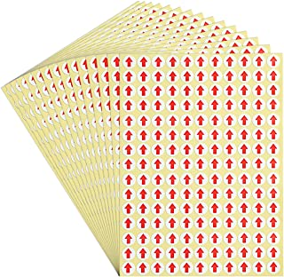 dealzEpic - Red Round Arrow Dot Stickers - Self Adhesive Peel and Stick Label | Products Inspection Defect Indicator - Pack of 15 Sheets