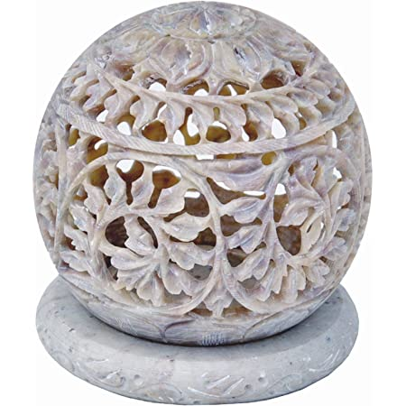Amazon Com Starzebra Handcarved Tealight Holder Sphere Shaped Made From Soapstone With Intricate Tendril Openwork Floral Decorative Lantern Decorate Your Home With This Amazing Tea Light Holder Home Kitchen