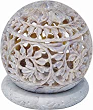 Shalinindia Hand Carved Tealight Holder Sphere Shaped Made From Soapstone With Intricate Tendril Openwork Floral Decorative Lantern Decorate Your Home With This Amazing Tea Light Holder