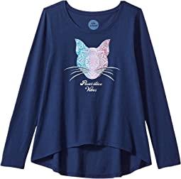 Life is Good Kids - Pawsitive Vibes Cat Long Sleeve Scoop Neck Swing Tee (Little Kids/Big Kids)
