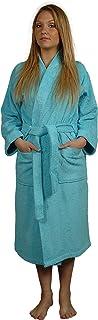 Sensei La Maison Du Coton 096147Xl.07 Dressing Gown Kimono Collar Cotton Turquoise
