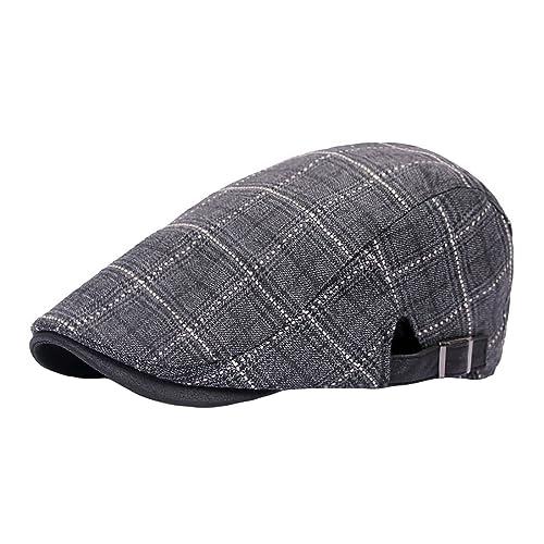 IL Caldo Summer Beret Hats Vintage Plaid Beret Cap Cotton Hat Drivers Newsboy Cap