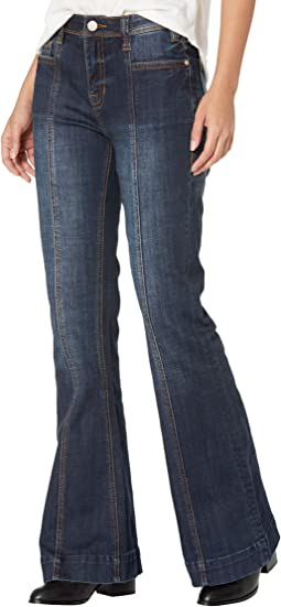 High-Rise Trousers with Front Center Seam Detail in Dark Wash W8H6099