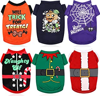 6 Pieces Halloween Dog Shirts and Christmas Dog Clothes Printed Puppy Shirts Pet Santa Elf Costume Holiday Dog Outfits Bre...