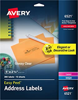 """Avery 6521 Glossy Crystal Clear Address Labels for Laser & Inkjet Printers, 1"""" x 2-5/8"""", 300 Labels"""