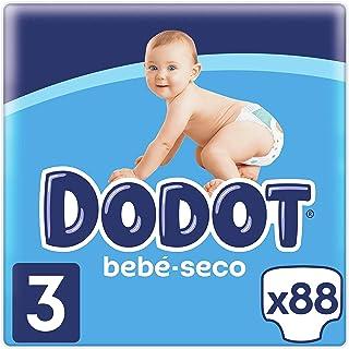Dodot Bebé-Seco Pañales Talla 3, 88 Pañales, 6-10kg, Hasta 12h de Protección Anti-fugas