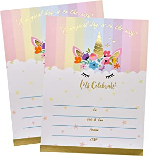 36 Unicorn Birthday Party Invitations with Envelopes with Elegant Gold Foil Magical Rainbow Unicorns Theme Fill In Card Invites For Girls Baby Shower Kids Slumber Sleepover Favor Supplies Decorations