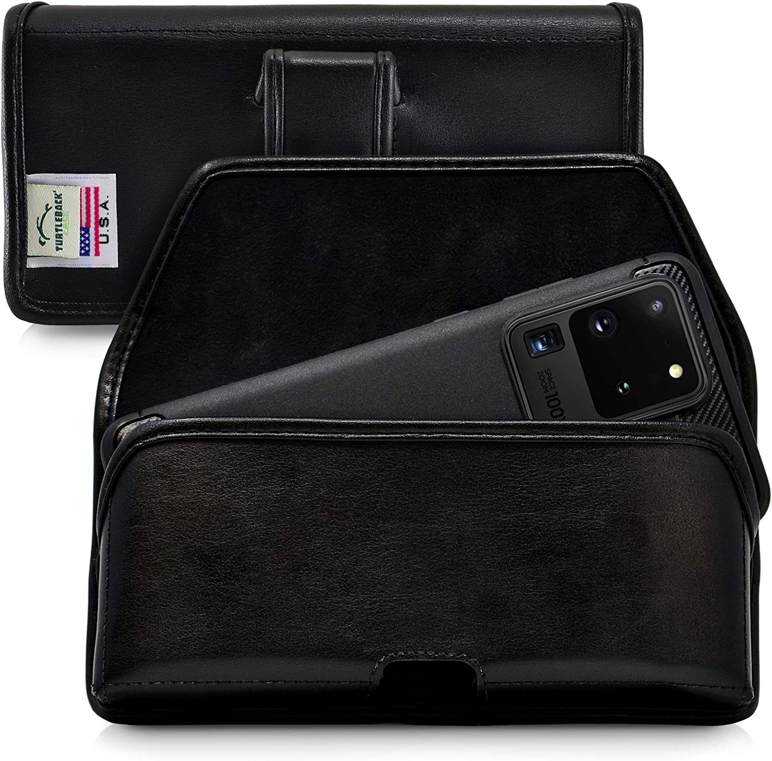 Turtleback Holster Designed for Galaxy S20 S21 Ultra (2020) Belt Case Black Leather Pouch with Executive Belt Clip, Horizontal Made in USA